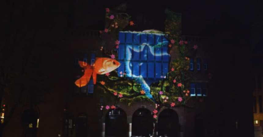 3D Mapping Projection: arte de música y luz sobre un edificio