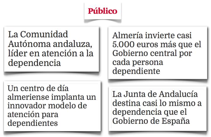 Titulares propaganda Junta Andalucía en Público.es