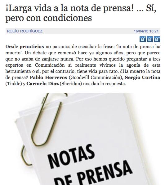 Reportaje de PR Noticias con opiniones de comunicadores sobre el futuro y presente de la nota de prensa