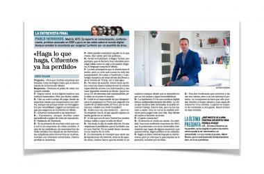 """Pablo Herreros: """"Haga lo que haga, Cristina Cifuentes ya ha perdido"""". Entrevista en la contraportada de El Mundo"""
