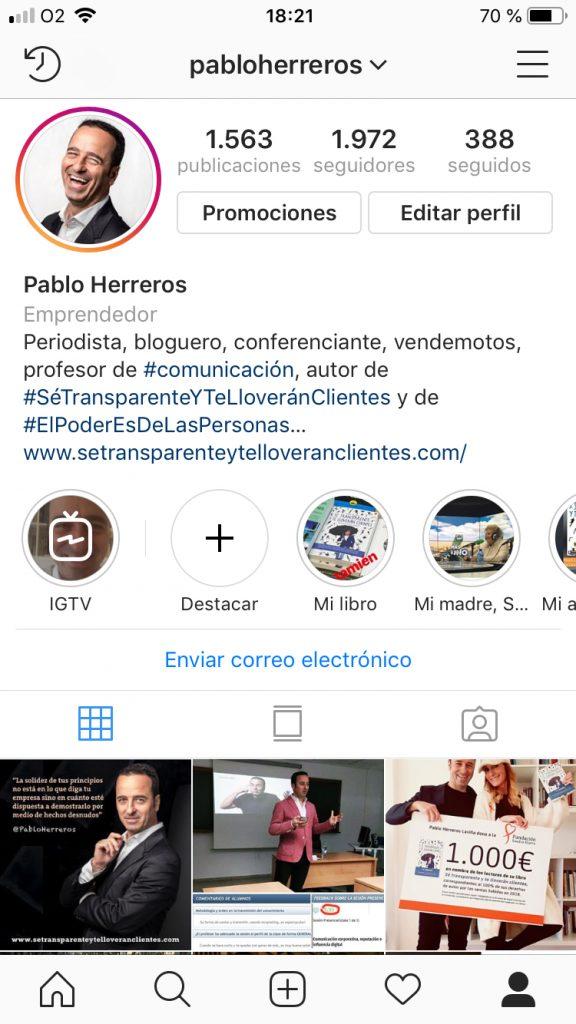 Pablo Herreros en Instagram